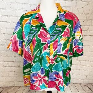 Vintage Russ Studio flora short sleeve button top